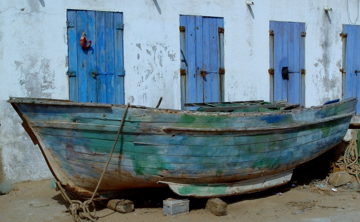 wooden boat at land